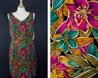 Vintage Joni Blair Dress, 90s Floral Grunge Skater Dress, Size 13, NWT Midi Dress, Sleeveless Botanical Print Dress, Tropical Flowers