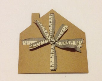 New Home Blank Greetings Card With Tape Measure Ribbon