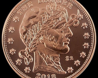 "1x Pure AVDP Troy Oz Solid Copper Zombuck, ""THE BARBER""' ~ Zombie Apocalypse Sweeny Todd Tres Chic Halloween Physical Collector Custom Coin"