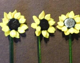 3 Vintage Sunflower Swizzle Sticks