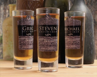 Groomsmen Shot Glasses, Set of 5, Personalized Shot Glasses