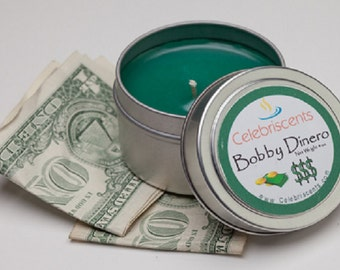 Money Scented Clean and Crisp Long Lasting Scented Soy Candle.  Smells of Clean, Fresh money straight out of the bank.