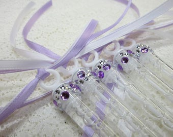 50 Wedding Bubble Wands with rhinestone and (2) ribbons