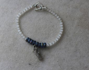 Beaded Bracelet with a Seahorse Charm
