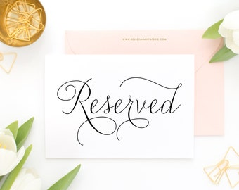 INSTANT DOWNLOAD Wedding Sign - Printable Reserved Wedding Sign - Modern Calligraphy Script  - Feminine Script Reserved Wedding Sign - 5 x 7
