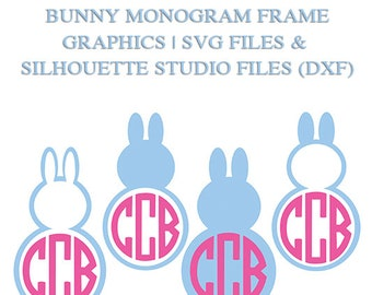 Bunny Monogram Designs for Cutting Machines | SVG and Silhouette Studio (DXF)