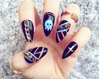 NAILED IT! Hand Painted False Nails - Neon Aztec