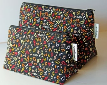 Bright Music Notes on Black Make-up and Wash Bag. Great Gift for all Music Lovers. Other colours available