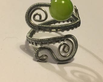 Adjustable Silver Swirl Ring