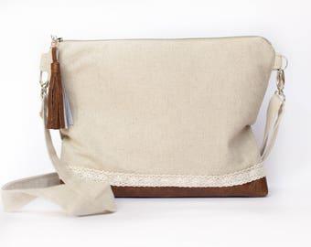 Beige Crossbody Bag, Minimalist Bag, Medium Handbag, Vegan Leather Bag, Brown Shoulder bag, Linen Handbag, Rustic Handbag, Natural Linen Bag