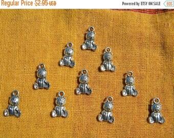 HALF PRICE 10 Silver Teddy Bear Charms