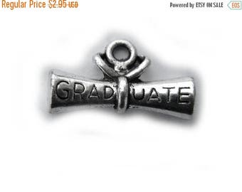 HALF PRICE 4 Silver Graduate Charms - 21mm