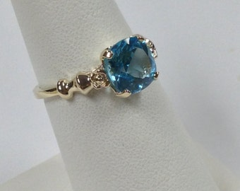 Natural Blue Topaz Ring Solid 10kt Yellow Gold
