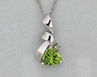 Natural Peridot with Natural Diamond Pendant Solid 14kt White Gold