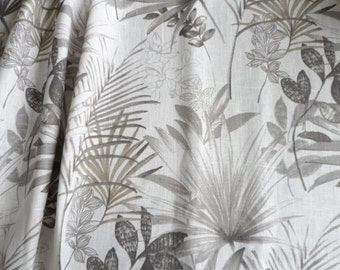 Kitchen Curtains, White Gray Cafe Curtains, Kitchen Valance, Linen Natural Valance, Gray Palm Leaves Curtains, Window Valance