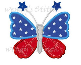 Star butterfly July 4th applique machine embroidery design instant download
