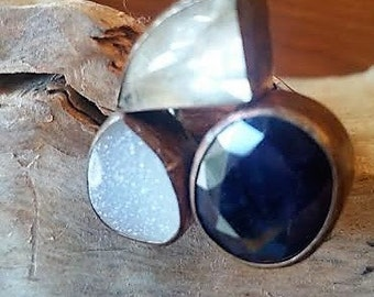 Triple Stone Sterling Silver Ring,adjustable,hand made DRUZY,SAPPHIRE,QUARTZ