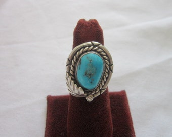 Native American Sterling Silver & Turquoise Feather Motif Ring Artist Signed Pretty
