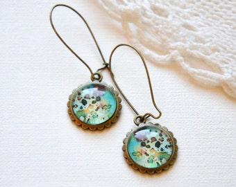 romantic earrings, turquoise