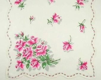 Pink Roses and Pink Rosebuds Vintage Handkerchief Hanky (Inventory #M3075)
