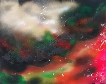 16x20 inch Malachite #2 Abstract Art Spiritual Painting On Stretched Canvas Energy Art Spray Paint Healing Energy 40x50 centimeters