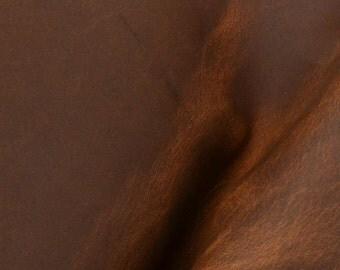 "Pre-cut Rustic Real McCoy Copper Leather Oil Tanned Cow Hide 4"" x6"" Project Piece 5-6oz DE-52591 (Sec. 7,Shelf 6,A Box 2)"