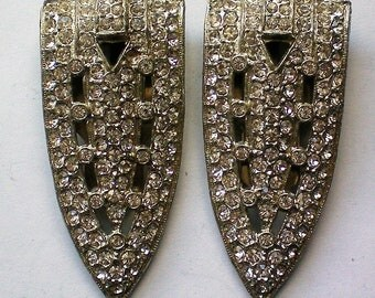 Pair of Art Deco Fur or Dress Clips with Rhinestones - 5121