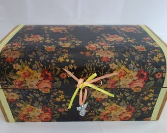 Black flower design decoupage and ribbon wooden treasure chest box, for all your keepsakes and treasured items.