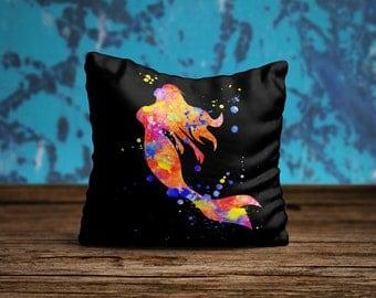 Mermaid Pillow, Mermaid Throw Pillow, Mermaid Pillow Cover, Mermaid Pillow Case, Nursery Pillow Cover, Nautical Home Decor, Beach Art