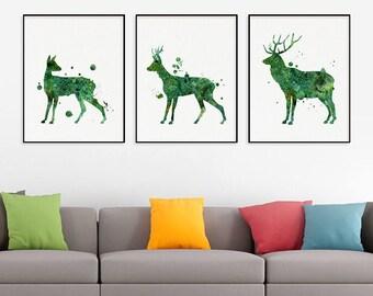 Deer Family Print Set of 3, Watercolor Deer, Deer Art Print, Deer Painting, Nursery Wall Decor, Kids Room Decor, Childrens Art, Woodland Art