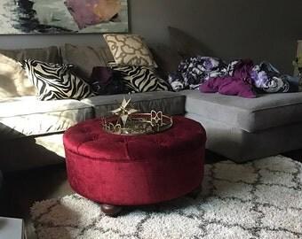 "Round Upholstered Ottoman, 32x32, Velvet Fabric , ""Barbara"" Ottoman"