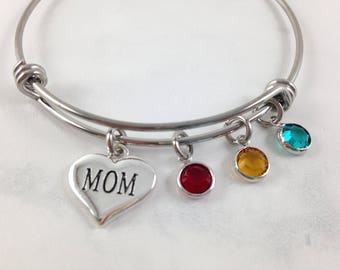 Mothers Day Bracelet, Mothers Day Gift, Mom Bracelet, Gift for Mom, Birthstone Bracelet, Mom Jewelry, Keepsake for Mom, Custom Mom Bracelet