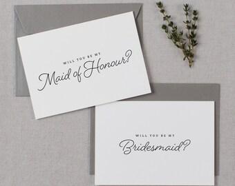 7 x Bridesmaid Proposal Cards, Bridesmaid Invitations, Will You be My Bridesmaid Card, Will You Be My Maid of Honor, Wedding Invitations, K1