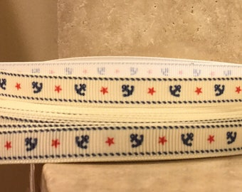 """5 YDS Anchors on Cream Background (3/8"""")"""