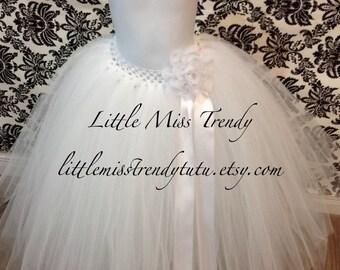 Long White Tutu Skirt, White Flower Girl Tutu, Long Flower Girl Tutu, White Long Tutu, White Tutu Skirt, Long Children Tutu