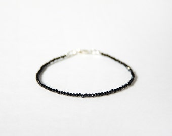 Tiny Black Spinel with Stealing Silver Bracelet, Made To Order