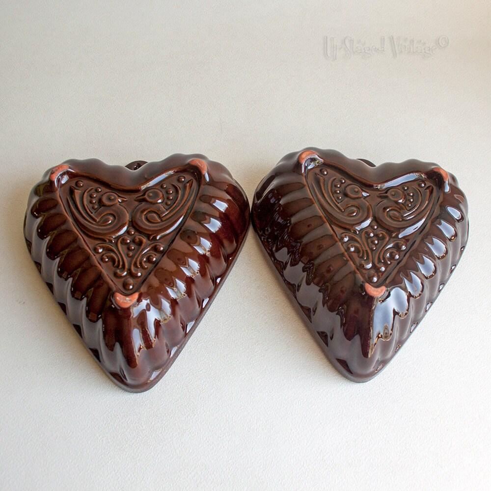 vintage west german ceramic heart shaped gugelhupf pastry mould bundt cake pan from. Black Bedroom Furniture Sets. Home Design Ideas