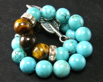 Turquoise and Tiger Eye Bracelet - 7mm