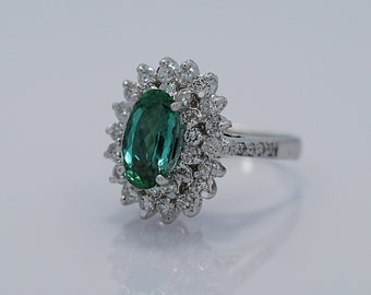 Estate Fashion Ring 2.26ct. Tourmaline & Diamond 18k White Gold - J36258