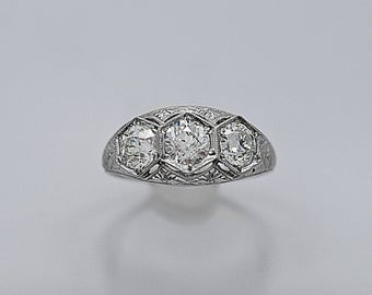 Diamond 3-stone Antique Engagement Ring 1.85ct. T.W. Art Deco Platinum - J36356