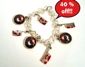 40 % SALE! Horror bracelet bloody cleaver eye, art by Susann Brox Nilsen. Halloween, monster, scary, alternative, gothic, charm bracelet