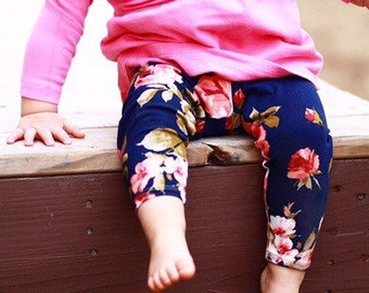 Made to Order - Double Brushed Polyester Floral Baby/Girls Leggings