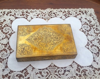 Brass Playing Card Box Coffee Table Box Etched Engraved