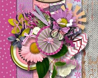 Digital Scrapbooking, Summer, Mini Kit: Happy Summer Day