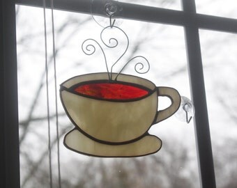 Coffee cup Stained glass suncatcher, Stained glass coffee