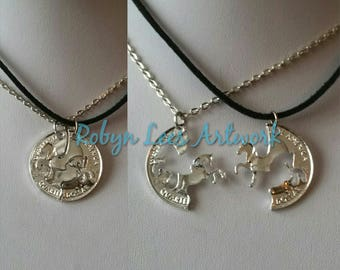Silver Horse Pony Split Coin Best Friends Couples Necklace Set of 2 Necklaces on Silver Crossed Chain or Black Faux Suede Cord