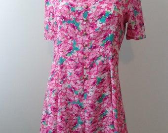 HALF PRICE Vintage Button Up Pink Flower Dress Bright Pink Dress Short Cute Dress Vintage 90s Dress Size Medium
