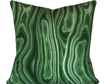 Emerald Green Malachite Gem Decorative Pillow Cover - Both Sides - 10x20, 12x16, 12x20, 14x18, 14x24, 16x16, 18x18, 20x20, 22x22, 24x24