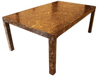 Mid Century Modern Dark Burlwood Parsons Expanding Dining Table Milo Baughman