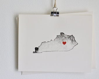 Kentucky State Notecard / Heart / Greeting Card / Rustic / Modern / Moving / Thank You / Chic / Handmade / Wedding / Set of Cards / Travel